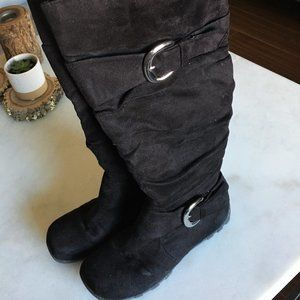 Tall black boots slouchy silver buckle suede feel